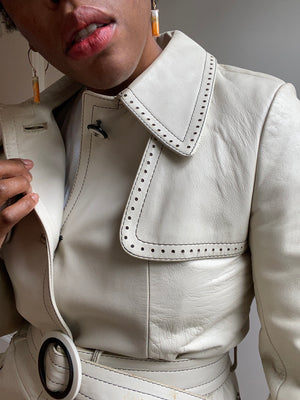 Creamy White Leather Trench Coat