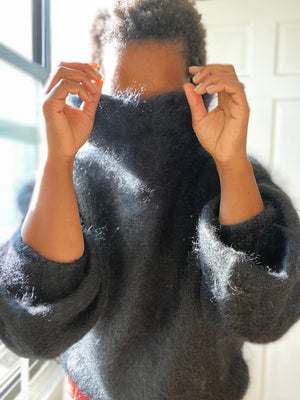 Black Mohair Wool Sweater