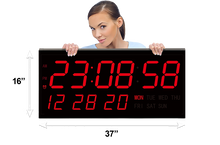 Load image into Gallery viewer, GIANT 7″ NUMERALS LED DIGITAL CALENDAR WALL CLOCK WITH REMOTE CONTROL (4429730349102)