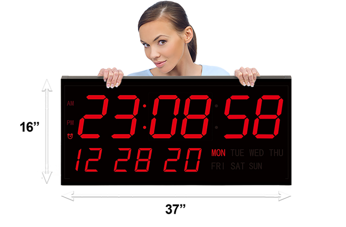 GIANT 7″ NUMERALS LED DIGITAL CALENDAR WALL CLOCK WITH REMOTE CONTROL (4429730349102)