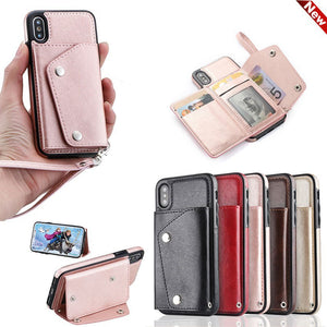 Multi Functional Leather Card Wallet Phone Cases - iPhone