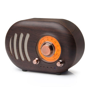 Vintage Wooden Mini Portable TF Card Radio Bluetooth Speaker
