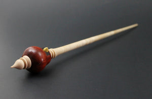 Cardinal bead spindle in redheart and curly maple