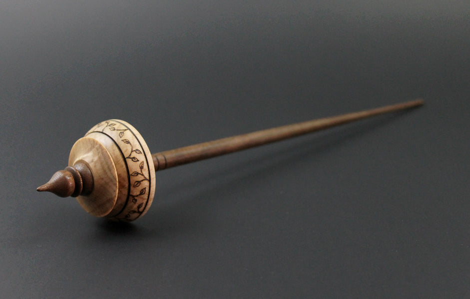 Tibetan style spindle in birdseye maple and walnut