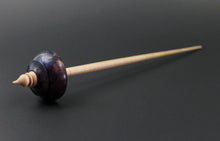 Load image into Gallery viewer, Tibetan style spindle in hand dyed maple burl and curly maple
