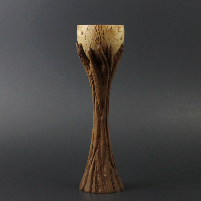 Lap chalice in Karelian birch and walnut