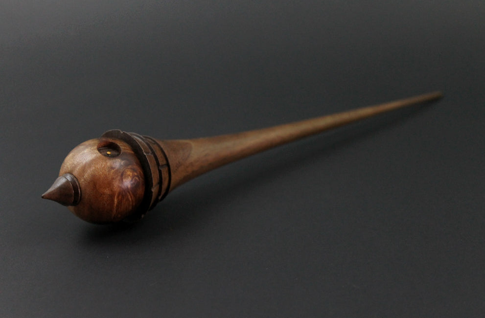 Wee folk spindle in hand dyed maple burl and walnut