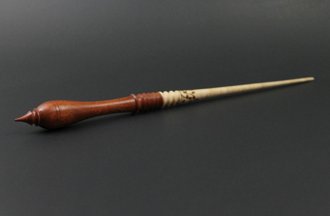 Wand spindle in curly maple and bloodwood