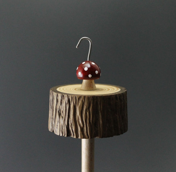 Toadstool stump drop spindle in walnut and curly maple
