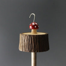 Load image into Gallery viewer, Toadstool stump drop spindle in walnut and curly maple