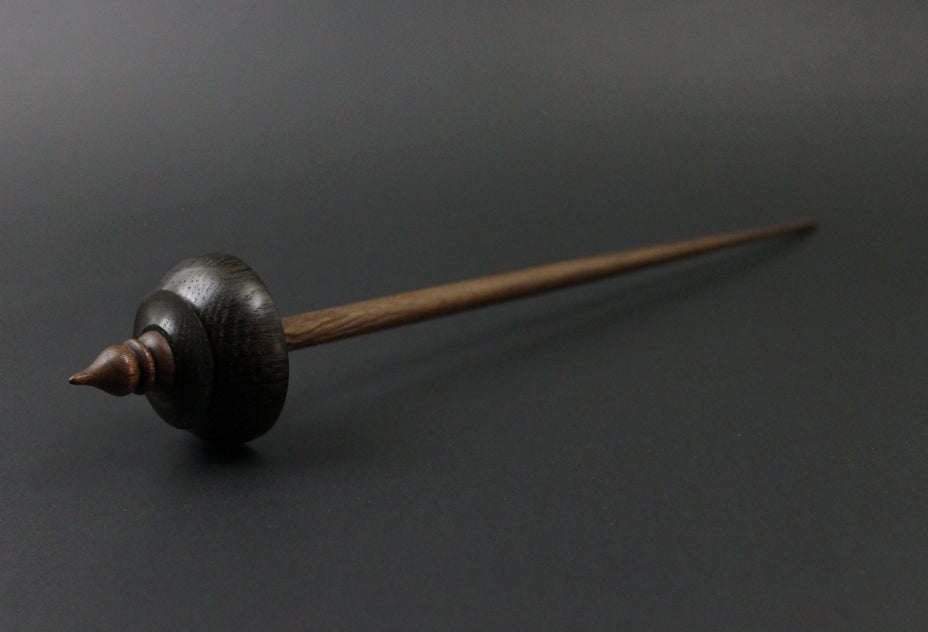 Tibetan style spindle in bog oak and walnut
