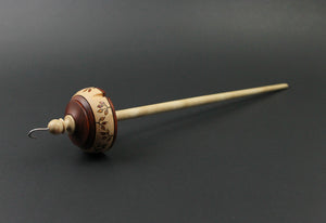 Drop spindle in padauk and birdseye maple