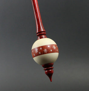Bead spindle in holly, redheart, and hand dyed curly maple