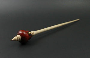 Cardinal bead spindle in redheart, yellowheart, and curly maple