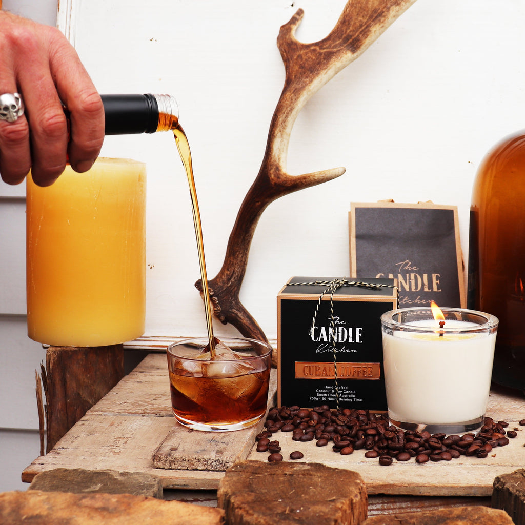 The Candle Kitchen coffee candle with coffee beans and caramel sauce