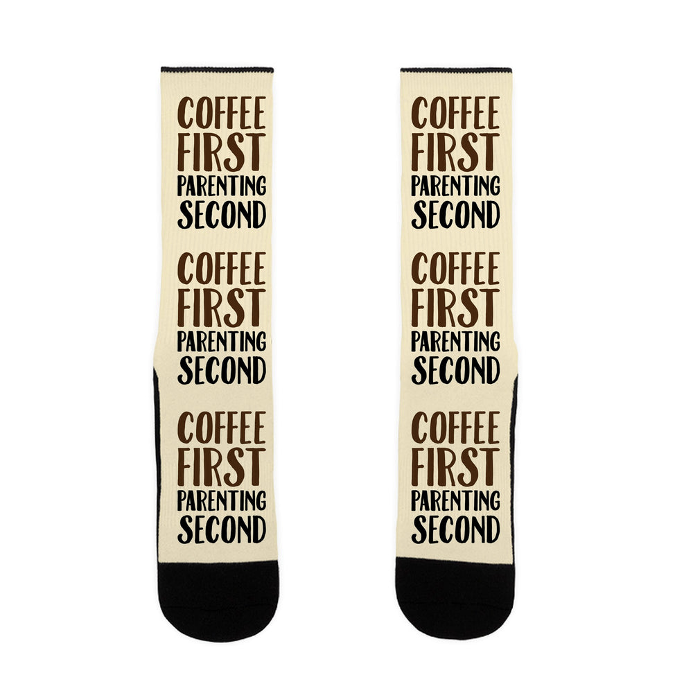 Coffee First Parenting Second US Size 7-13 Socks by LookHUMAN