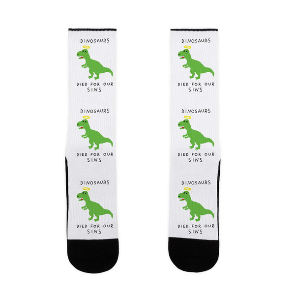 Dinosaurs Died For Our Sins US Size 7-13 Socks by LookHUMAN