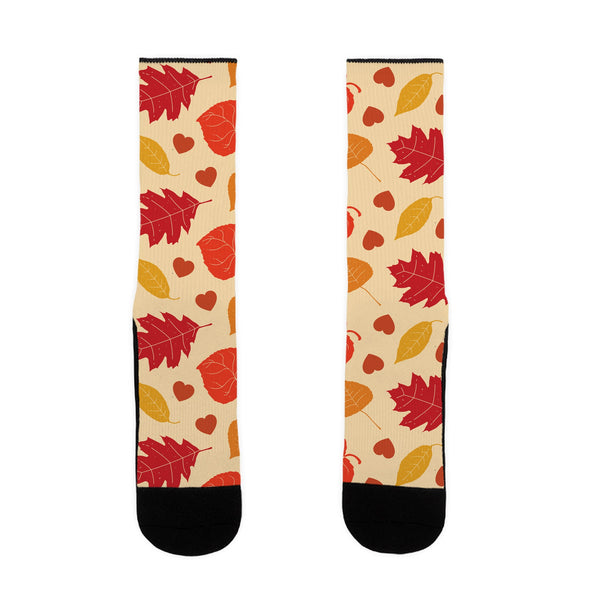 Autumn Leaves and Hearts Pattern US Size 7-13 Socks by LookHUMAN