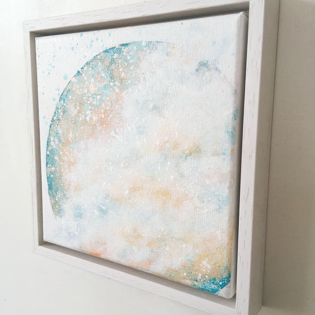 Moonscape #110 Amidst| Mer Lunaires Series | Abstract painting moon turquoise peach