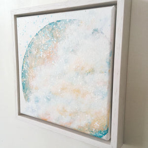 Amidst| Mer Lunaires Series | Abstract painting moon turquoise peach