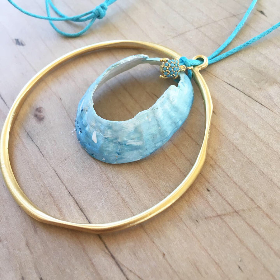 Hand Painted Limpet Necklace with Hoop and Turtle