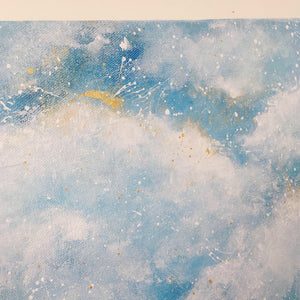 Cloudburst 34 | Faith | Abstract painting blue fluffy clouds
