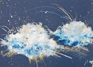 "Cloudburst 29 Heavenly Abstract Painting 16""x 12"""