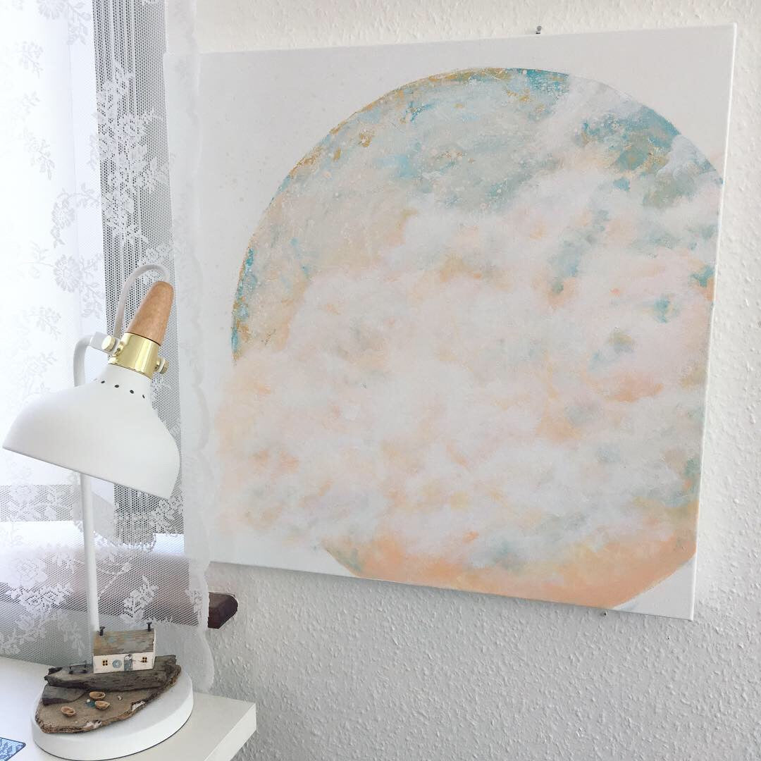 Serenity Moon Painting in peach and blue 60cm x 60cm
