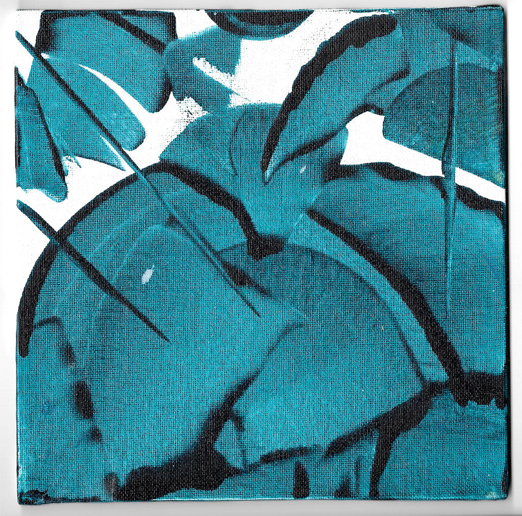Waves 2 Palms Small Abstract Painting 20cm x 20cm