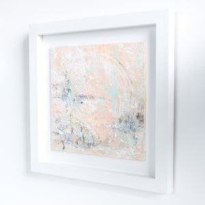 Sunset Lagoon Framed Abstract Landscape Painting 30cm sq