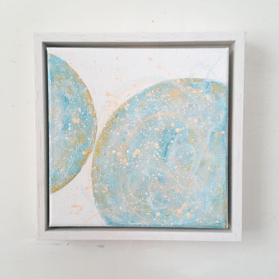 Moonscape #109 Safety  | Mer Lunaires Series | Abstract painting moon turquoise peach