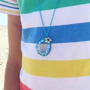 Hand Painted Limpet Necklace in Aqua with Brass Hoop and Cubic Zirconia Turtle
