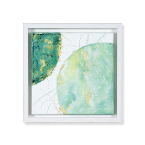 Affinity | Green earth moon painting 20cm x 20cm