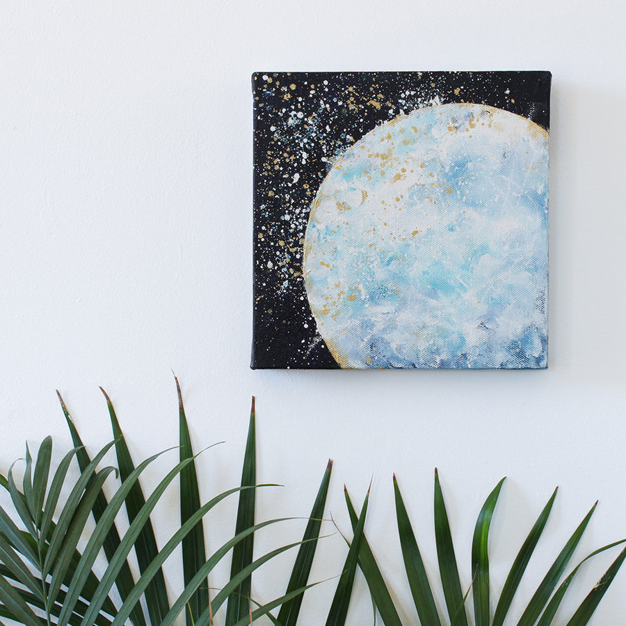 Stardust Moon Painting on Canvas 20cm x 20cm