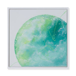 Awakening | Framed Earth painting with green clouds 40cm x 40cm