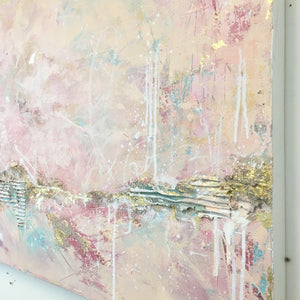 Twilit Inlet abstract painting in pinks & neutrals
