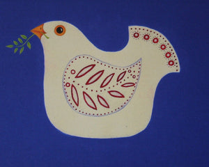 Greeting card with a print of a hand painted white dove on royal blue background