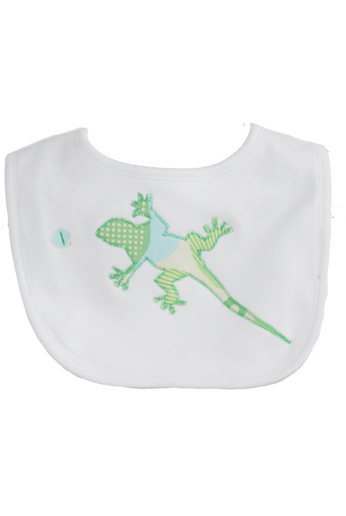 Baby Bib Blue Green Gecko