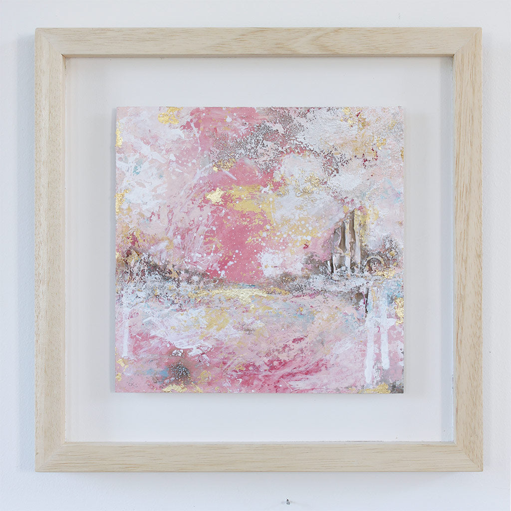 Blushing Shoreline Abstract Painting 35.5cm x 35.5cm