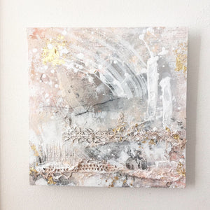 Alternate reality abstract painting pink grey gold 20cm x 20cm