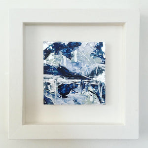 Distant Shores 2 framed abstract painting blue silver  20cm x 20cm