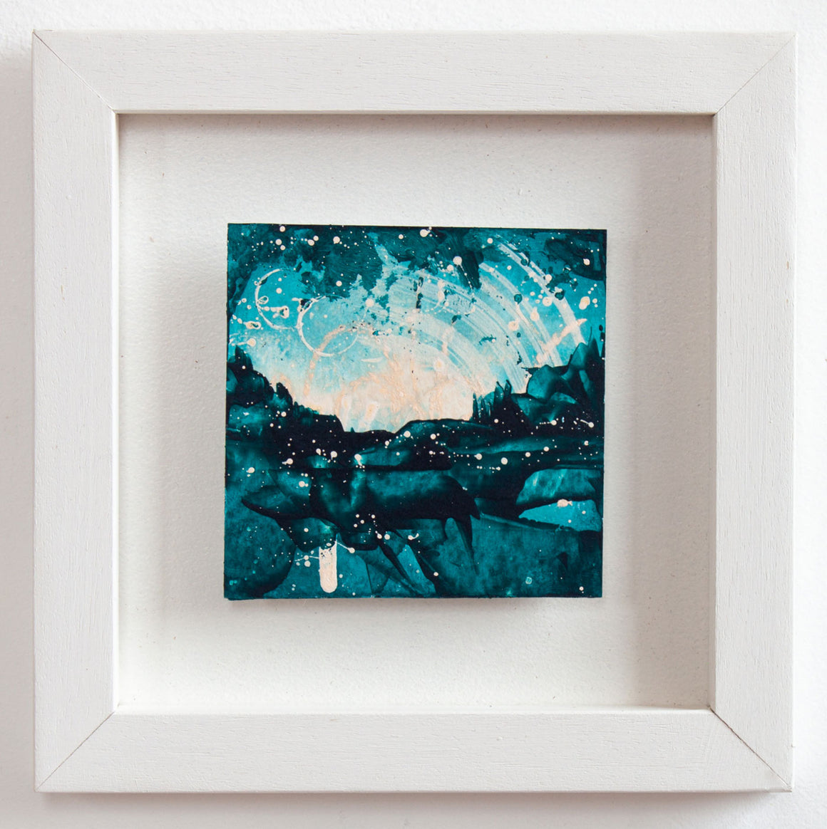 Castles in the sky Mini painting turquoise pink peach 20cm x 20cm