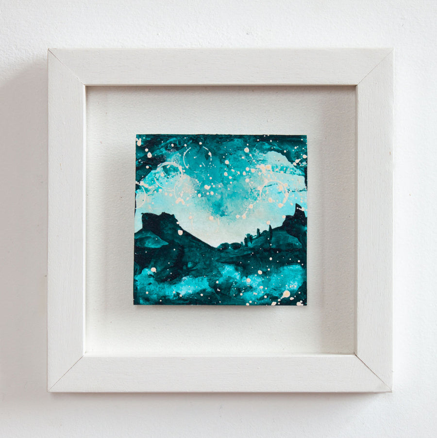 Castles in the sky 2 Mini painting turquoise pink peach 20cm x 20cm