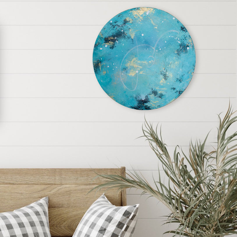 Archipelago Moonbathing Moon Painting on Round Canvas 45cm