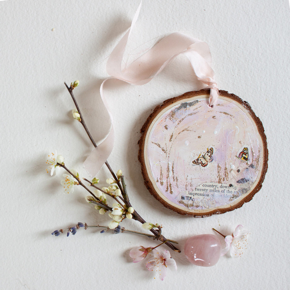 Drifting Impression Dreamscape Hanging Mini Painting on Rustic Wooden Slice
