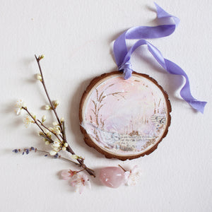 Beautifully Delicate Dreamscape Hanging Mini Painting on Rustic Wooden Slice
