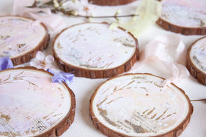 Carefree Songbird Dreamscape Hanging Mini Painting on Rustic Wooden Slice