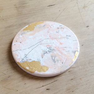 Hand painted coasters in pink and gold