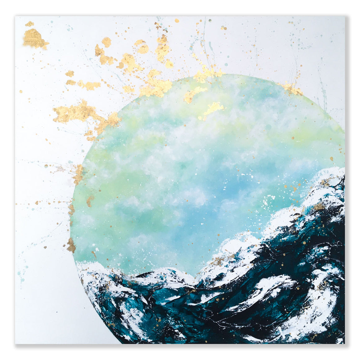 Impact | Framed Wave Moon Earth Painting 100cm x 100cm