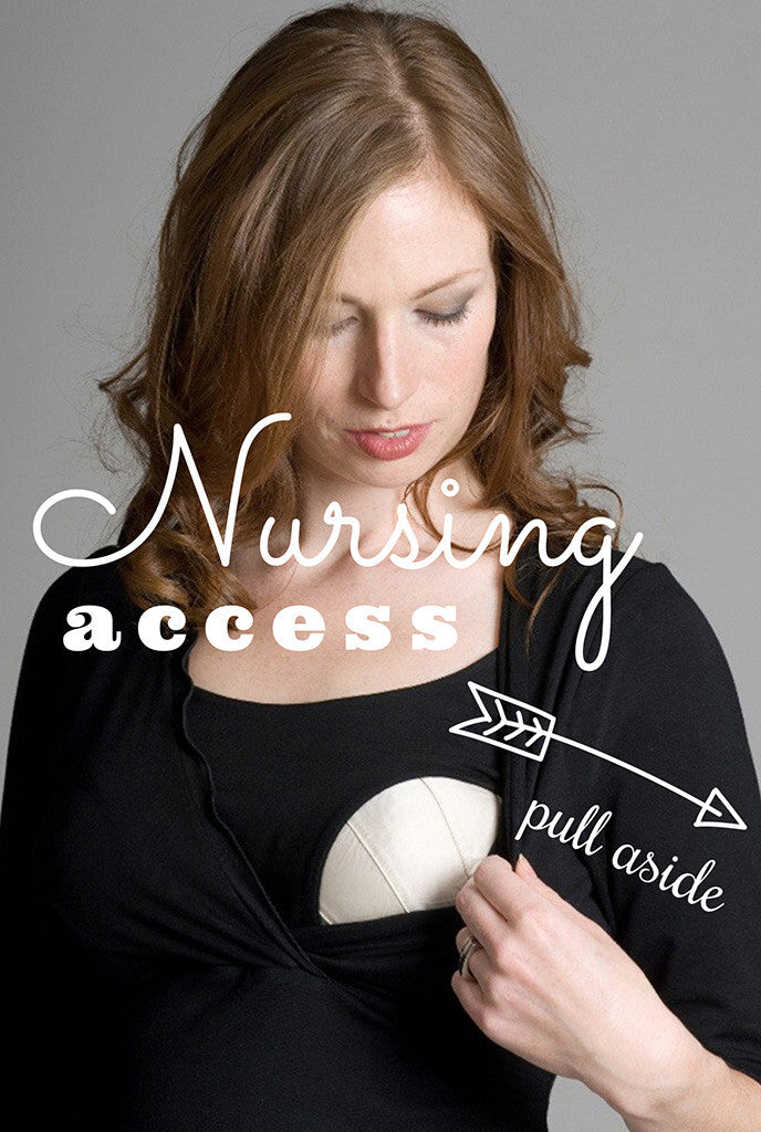 Nursing access V Neck Breastfeeding Dress